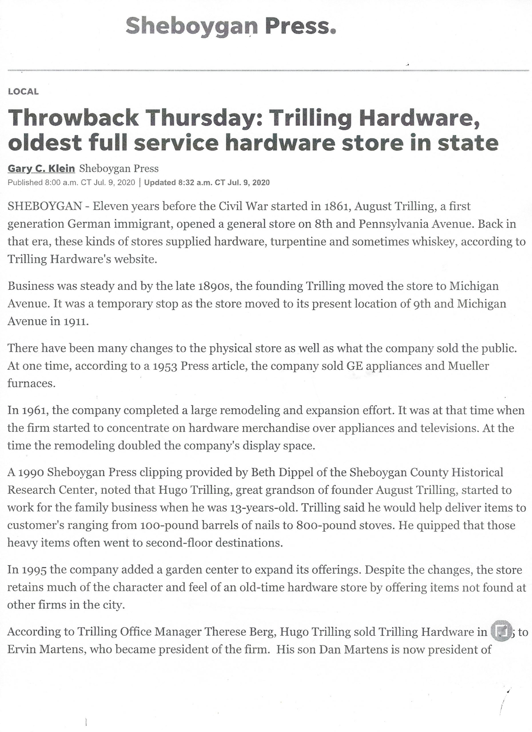 trilling true value hardware sheboygan press article